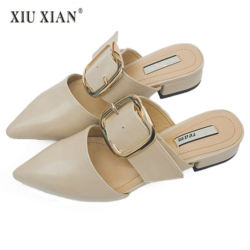 2018 New Arrived Thick Heel Pointed Women Slides Slippers Elegant Buckle Spring Summer Shoes Fashion Lady Outside Office Slipper 2014 spring and summer new elegant gold buckle leather shoes women shoes carrefour