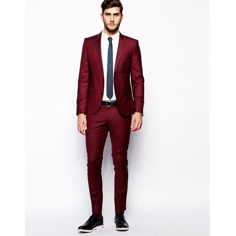 2016 hombres delgados traje vino rojo novio Formal de la