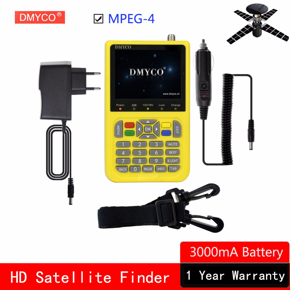 DMYCO DVB-S2 MPEG-4 HD Localizador de Satélite de Alta Definição DVB Localizador S2 lnb FTA Sat finder Medidor de Satélite 1080 P Full 3.5 polegada LCD