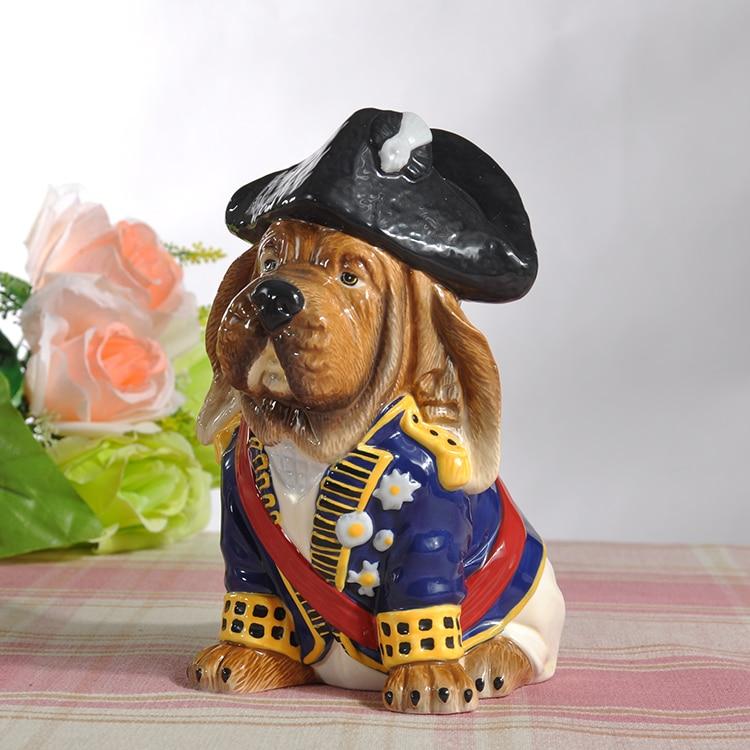 Creative en céramique général tirelire chien étude décor à la maison artisanat chambre décoration dessin animé mignon chien animal tirelire figurine cadeau