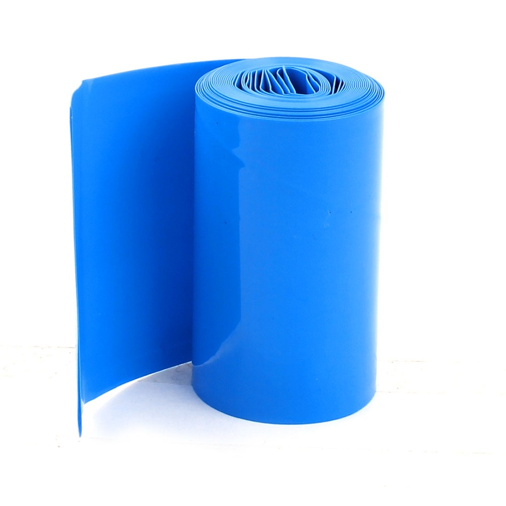 2Meters 50mm Width PVC Heat Shrink Wrap Tube Blue for 2 x 18650 Battery  Wiring Accessories