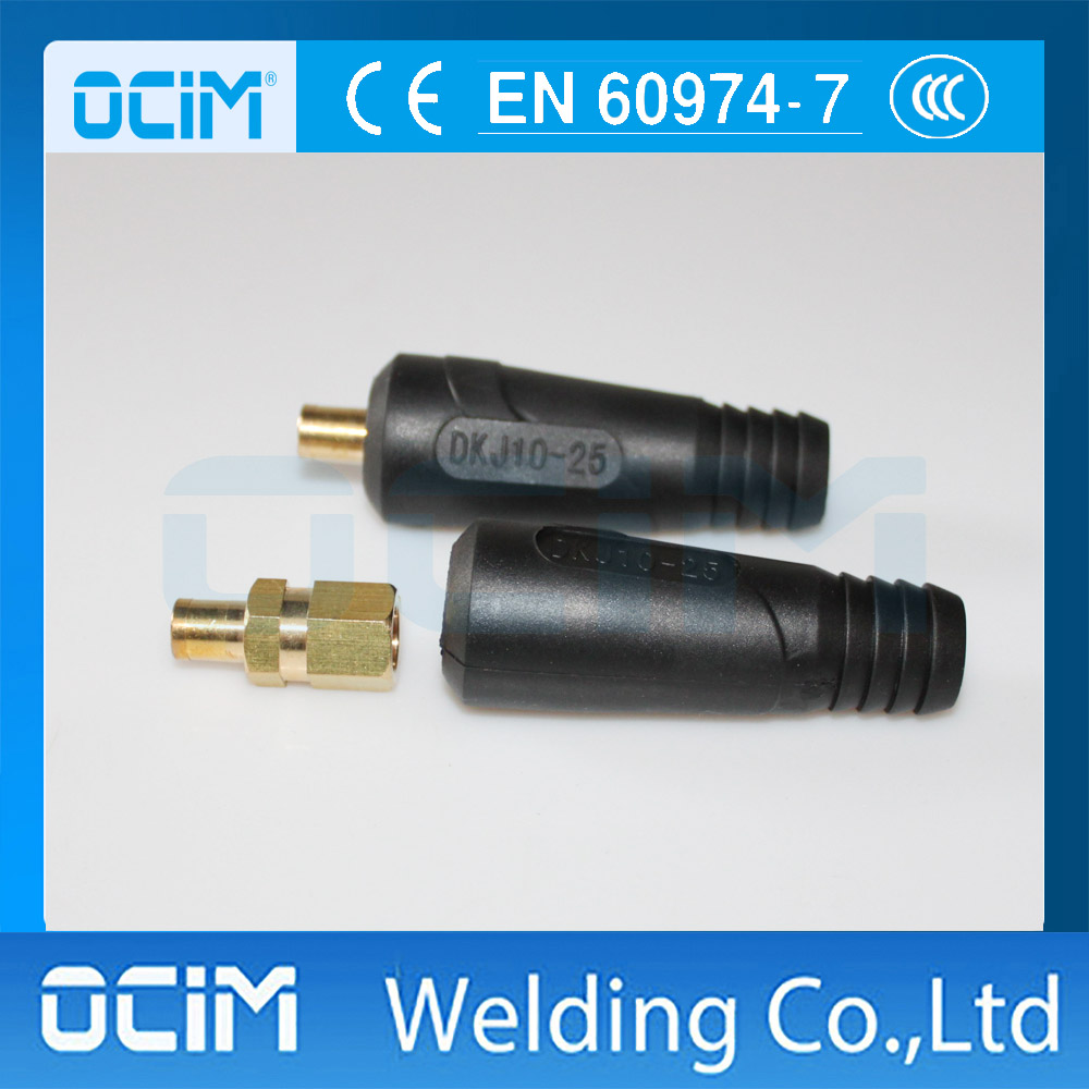 2PCS DKJ10-25 High Quality  Euro Style Cable Connector Plug For Welding Machine