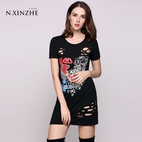 N XINZHE 2017 Fashion Summer Beach Women T Shirt Dresses Short Sleeve Animal Print Black Hole