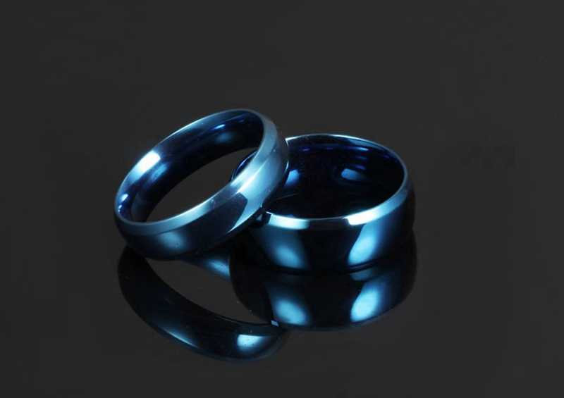 LASPERAL Simple Lettering Blue Rings Fashion Stainless Steel Smooth Lovers' Ring Men Women Jewelry 2018 New Valentine's Day Gift