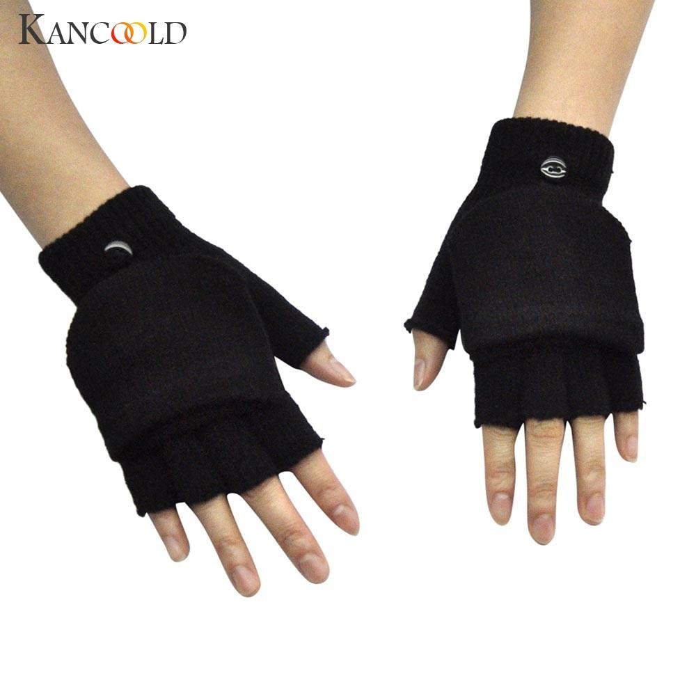 KANCOOLD Gloves Adult Women Men Winter Hand Wrist Warmer Flip Cover Fingerless Gloves High Quality Gloves Women 2018NOV28