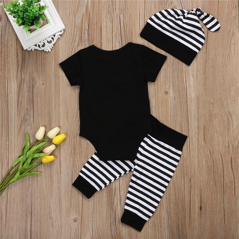 Baby Boy Cotton Clothes Set Summer Newborn Baby Boys Short Sleeve Bodysuit Pants Hats 2017 New Bebes Hot Outfits Boy Clothes Set