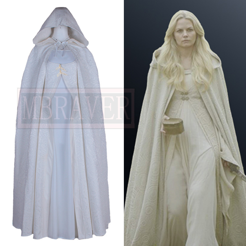 Once Upon a Time Emma Swan White Dress Cosplay Costume Halloween Uniform Outfit Custom Made Any Size