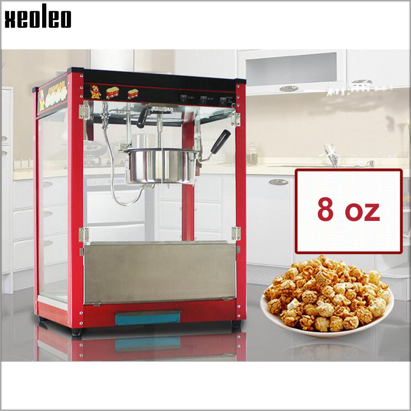 Xeoleo 8OZ Popcorn maker Commercial Spherical Popcorn machine Red Oil Popped 220V/50-60HZ Toughened glass Wood box Pack 1400W pop 08 commercial electric popcorn machine popcorn maker for coffee shop popcorn making machine