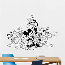 Mickey Minnie Mouse Donald Duck Goofy Pluto Vinyl Wall Decal Boy Cartoons Vinyl Sticker Baby Girl Kids Room Wall Sticker