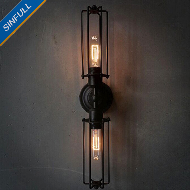 Black Antique Wrought Iron Wall Light Bedside Bathroom Vintage Wall Lamp Indoor Home Decor Industrial Lighting Fixture AC85-265V new classic wall light vintage creative iron lamps american style iron antique wall lamp bed room lighting top glass home decor