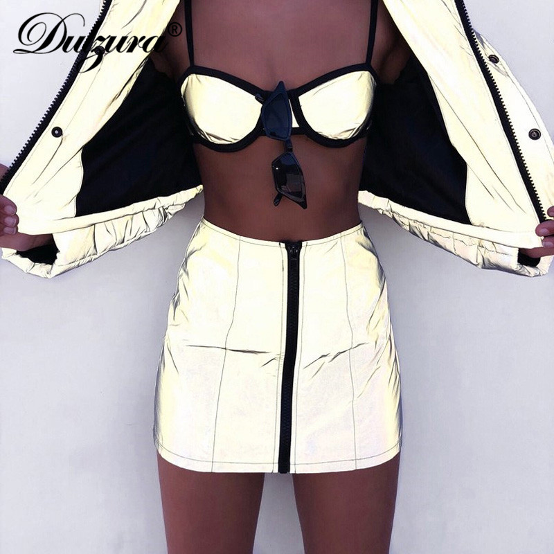 Dulzura Women Skirt Flash Reflective Zipper 2019 Autumn Winter Ladies Female Fashion Night Club Party Streetwear Solid New