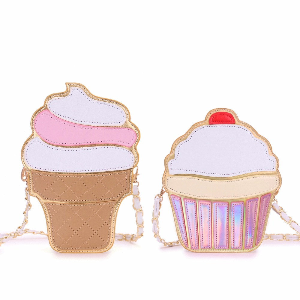 Womem helado torta Bolsa de bolsa de cuero de LA PU lindo Bolsas de Mensajero du