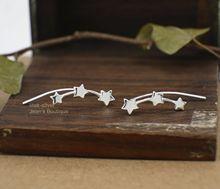 925 Sterling Silver Simple Women Stars Climber Crawler Earrings for Women Simple Geometric Stud Earrings Jewelry Gifts 1 Pair цена в Москве и Питере