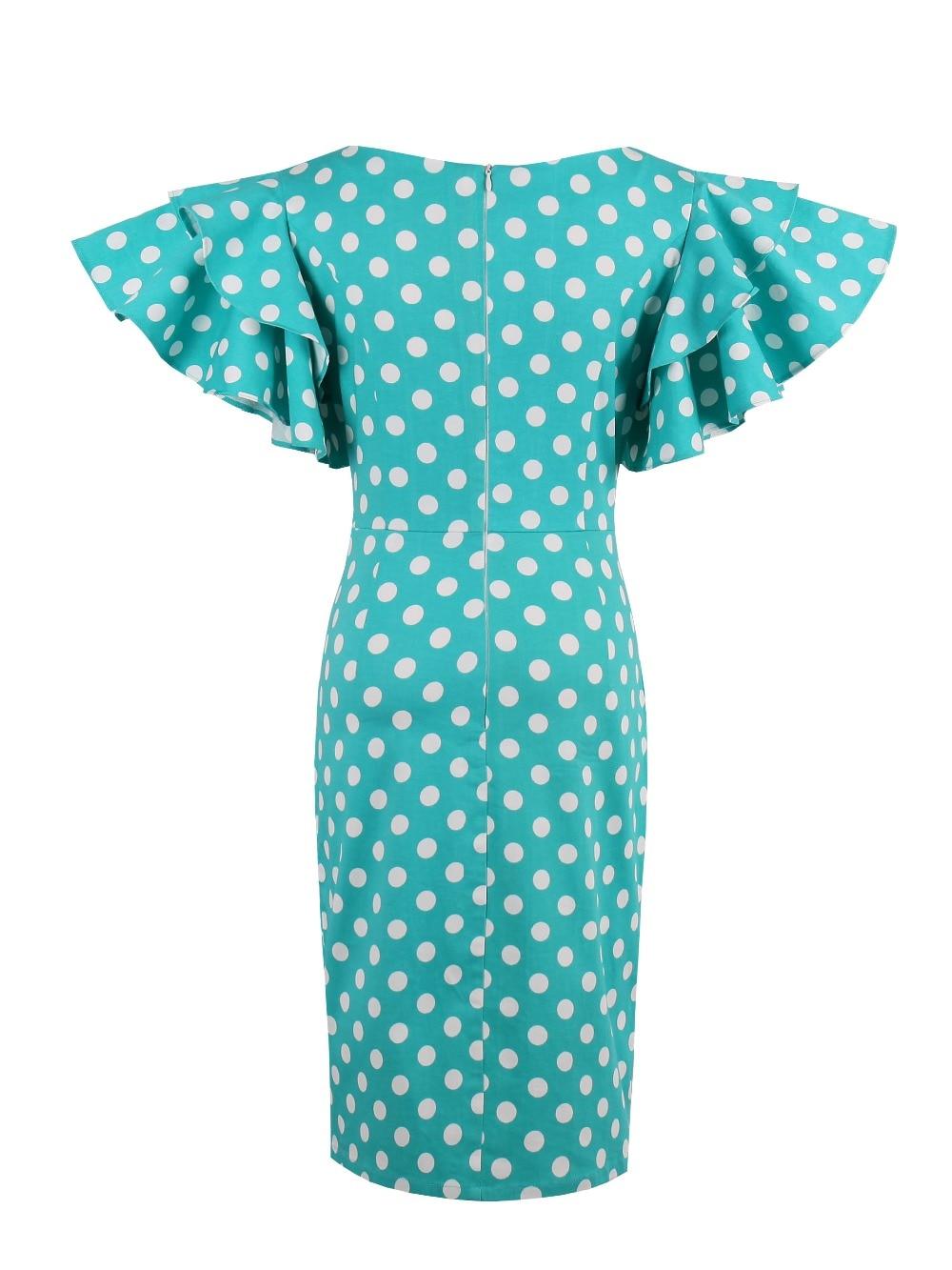 Fustanet verore të grave Sisjuly Bodycon Blu të bardha me Polka Dot - Veshje për femra - Foto 4