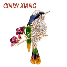 CINDY XIANG Rhinestone Bird Brooches for Women Flower and Magpie Pins Shining Animal Jewelry Design Enamel Pin High Quality Gift