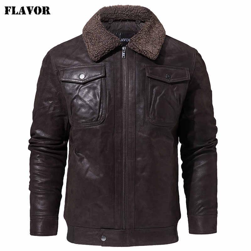 Мужская кожаная куртка FLAVOR, черная теплая куртка из натуральной кожи с воротником из искусственного меха, кожаный байкерский жакет для мужчин на зиму