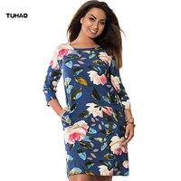 TUHAO Large Size 6XL 5XL 4XL Women Dress Vintage Floral Print Office Lady Dress Plus Size