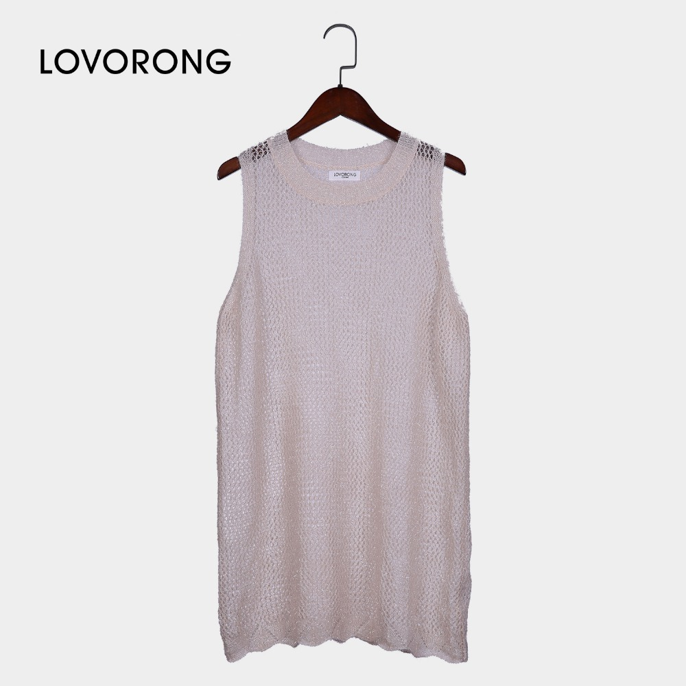 eMamco 3 Size100% Polyester Apricot Hollow Out Casual Loose Style Tank Tops O Neck Unique Design Simple Tanks For Women