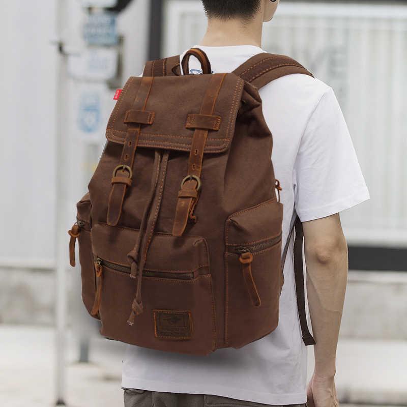 73671f89fb77 Unisex Canvas mochila Vintage Backpack Leather Trim Casual Bookbag Men  Women Laptop Travel Rucksack Plecak Men Women Back Pack