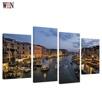 HD Print Framed 4PC Water City Canvas Art Wall Pictures For Living Room Large Modern Cuadros