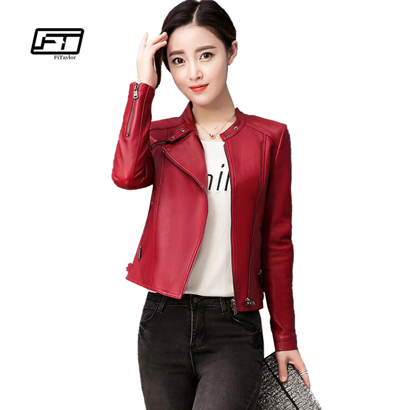 Fitaylor New Women Faux   Leather   Jacket Plus Size 4XL Ladies   Leather   Jackets Black Red Biker Coat Motorcycle Woman Jacket