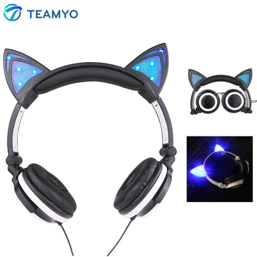 Teamyo Glowing Cat Ear Headphones Gaming Headset Auriculares Music Earphone With LED Light For iPhone Xiaomi Mobile Phone PC MP3