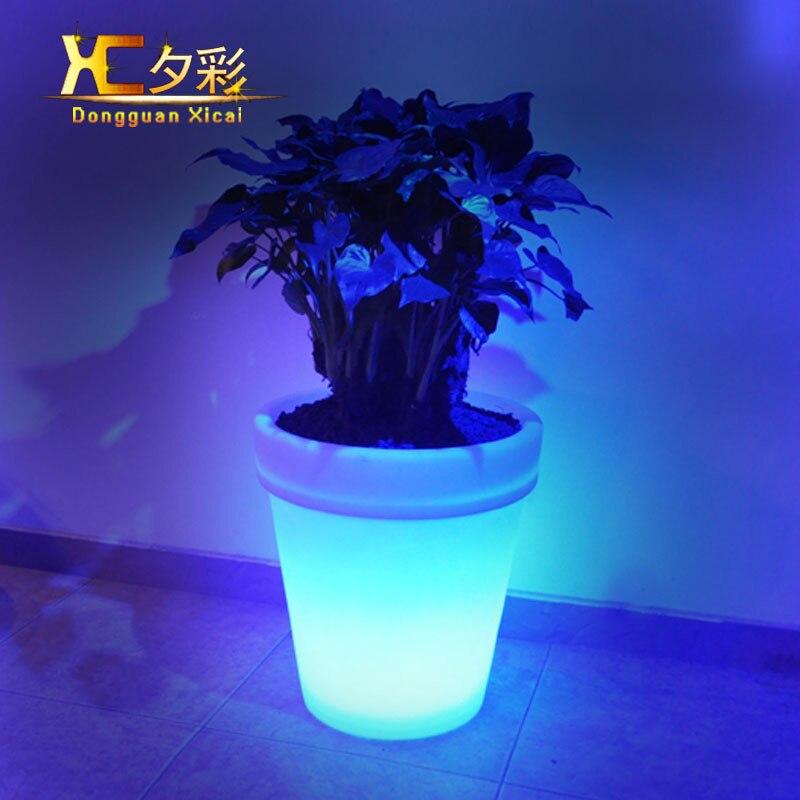 Big Plastic LED Flower Pots Garden Decoration Floor Vase Green Planter  Artificial Flower Pot For Resturant