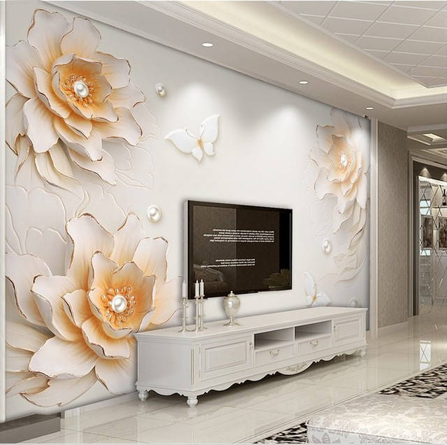 8D wall murals beautiful fashion pearl rose crystal murals for TV