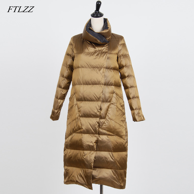 FTLZZ White Duck Down Double Sided Jacket Women Plus Size Snow Outwear Winter Slim Ultra Light Down Coat Single Breasted Parkas