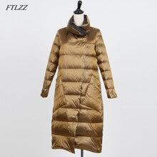 FTLZZ White Duck Down Double Sided Jacket Women Plus Size Sn