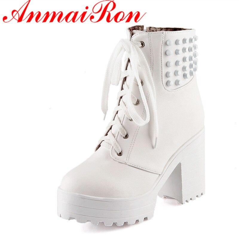 ANMAIRON Rivets Charmes Chaussures Femme Dentelle-up Blanc Chaussures  Cheville Bottes pour Femmes Taille 34-43 Talons hauts plate-forme  Chaussures Bottes D  ... 44ebfd19967
