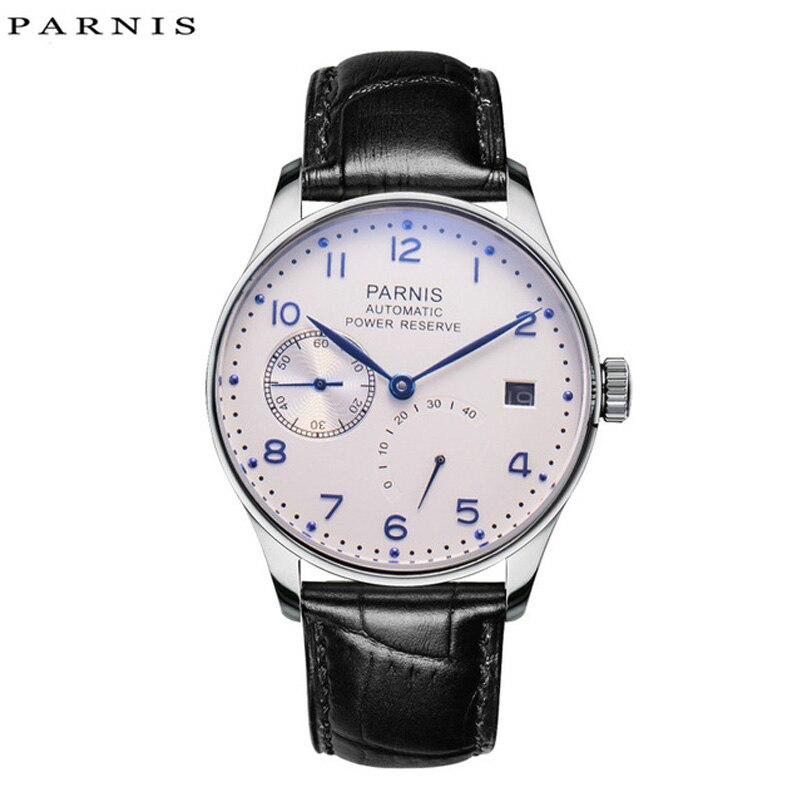Parnis 43mm Mechanical Watches Men 2018 Calendar Waterproof Automatic Self Wind Watch Black Silver