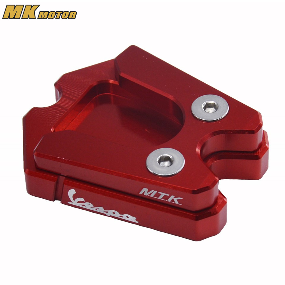 Motorcycle Foot Side Stand Enlarge Pad For Vespa GTS 3Vie GTV 3Vie CNC Kickstand Extension Plate for bmw f800r 2009 2012 2013 2014 hp2 08 motorcycle cnc aluminum side stand enlarger cnc kickstand pate pad side stand enlarger