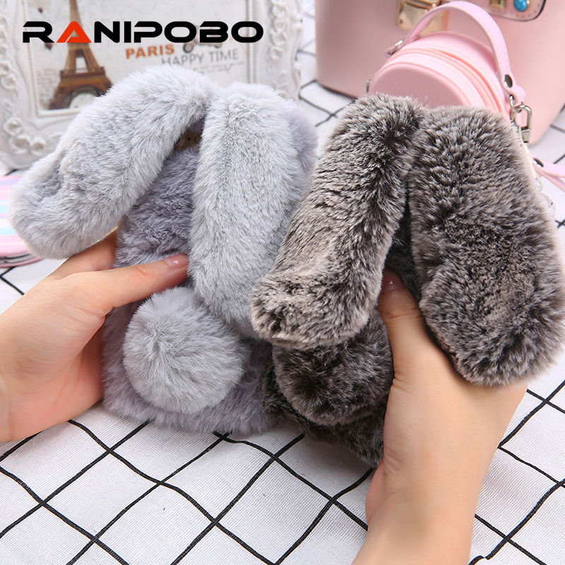 Galleria fotografica Luxury Diamond lovely 3D Rabbit Ears Furry Warm Phone Cases For iphone X 5 5S SE Cute Cartoon Soft TPU Fluffy hair Back Cover