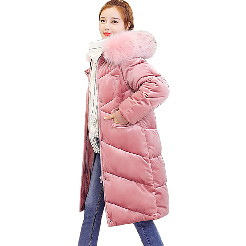 Winter Women   Parka   Coat 2018 Hooded Casual Warm Long Coats Ladies casaco feminino Cotton Outerwear   Parkas   Thicken Female Coat