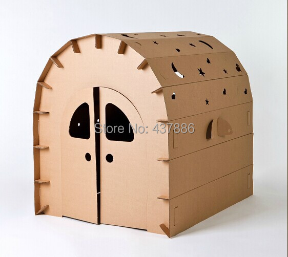 Large cardboard children play house puzzle assembling and disassembly toys paper doodle lodge house tent for & Large cardboard children play house puzzle assembling and ...