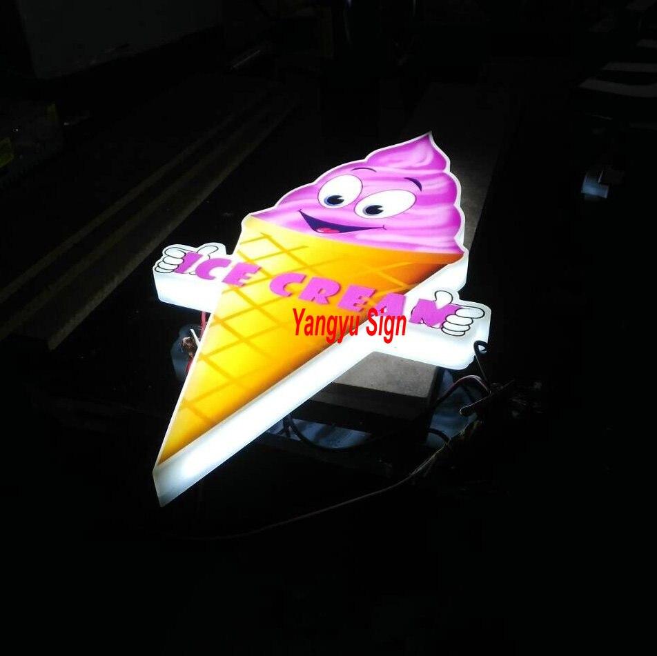 personalizado caixa de luz ao ar livre led ice cream shop sign 3d letras sinal