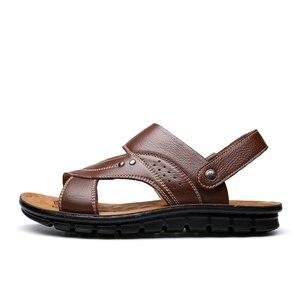 الرجال الصيف الصنادل جلد طبيعي مريحة الانزلاق على صندل كاجوال أزياء شبشب رجالي zapatillas hombre حجم 38-44 129 M