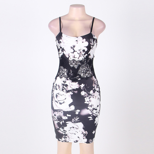 The new Europe and the United States women's summer dress sexy backless condole printing tight package hip dress