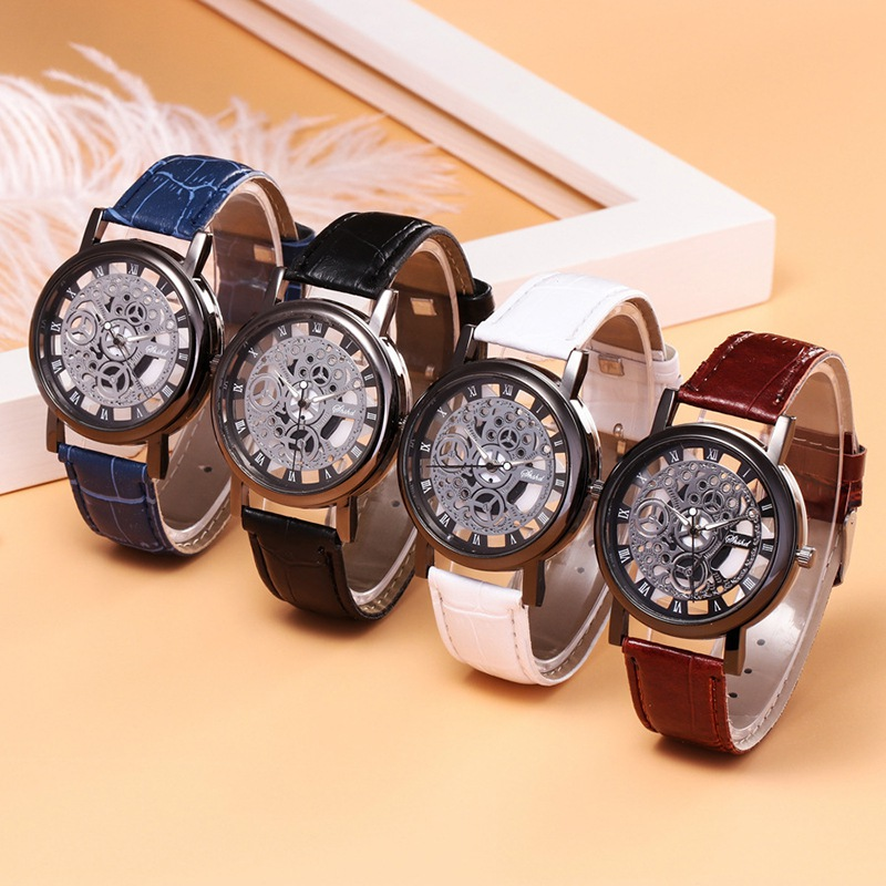 Fashion Men Hollow PU Belt Lovers Watch Luxury Round Easy To Read Watch Is Not Waterproof
