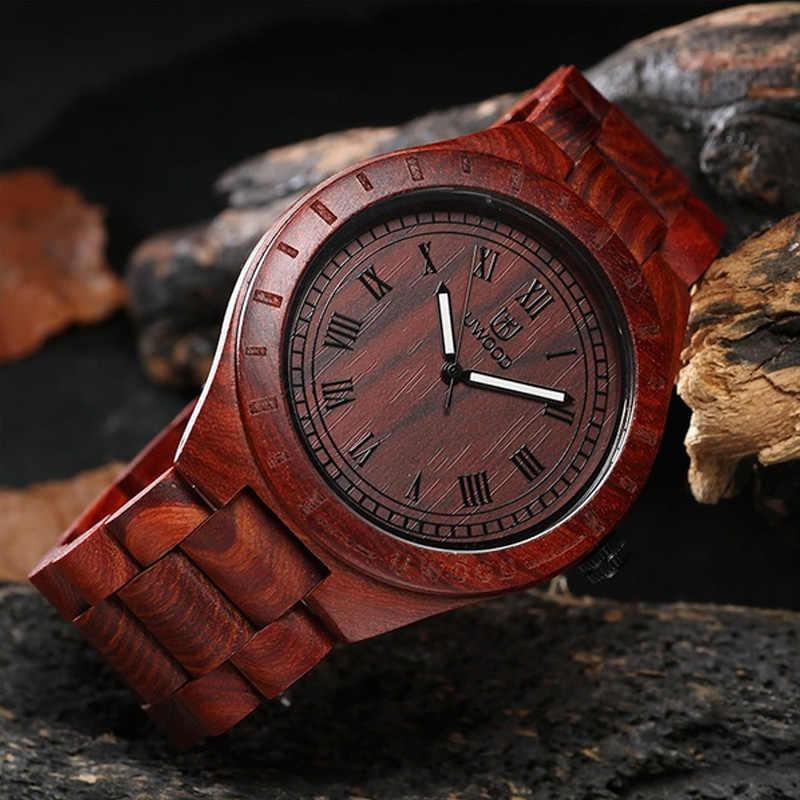 Uwood sólido Natural reloj de madera hombres cuarzo luminoso de madera reloj de pulsera de moda de marca de lujo regalo para hombre mejor venta 2019