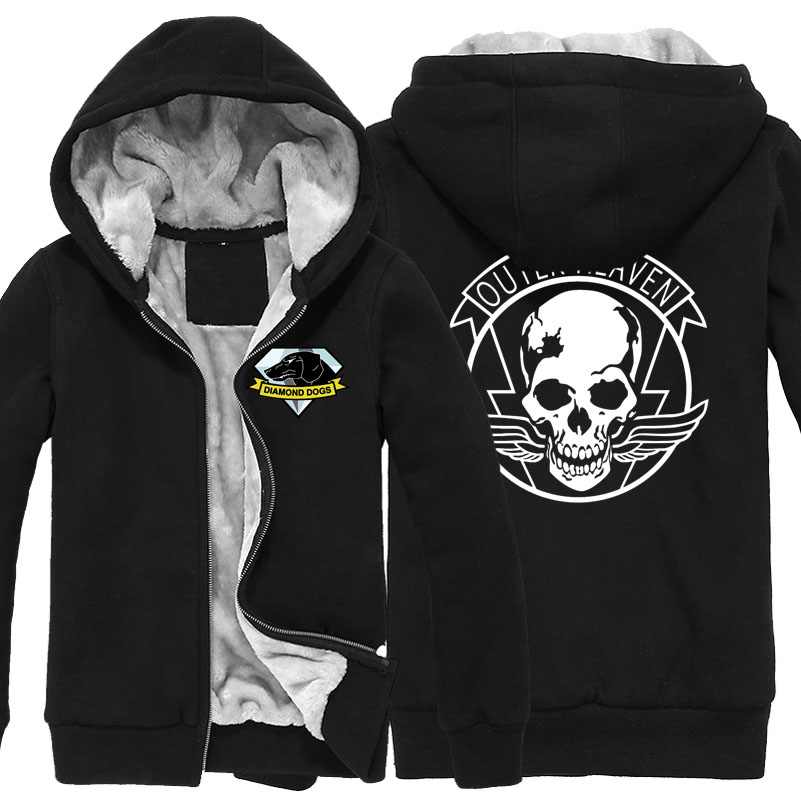 fa333eab8f642 Game MGS 5 Metal Gear Solid V Diamond Dogs Outer Heaven Logo Zip Up Print  Super Warm Fleece Hoodie Coat Sweatshirt Plus Velvet