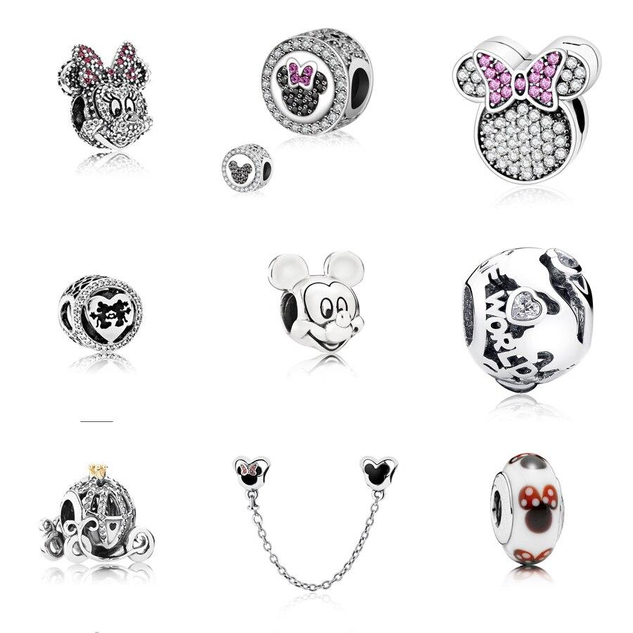 925 Plata de Ley 100% CZ cuentas Fit Orignal pandora bead pulseras joyería de dibujos animados DIY Mickey & Minnie Kiss Clip Charm Series