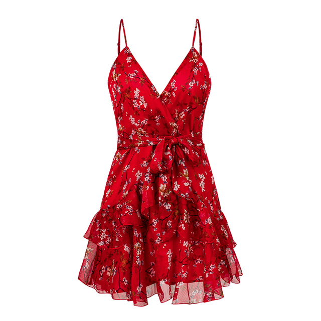 Red Print Short Dress Women...
