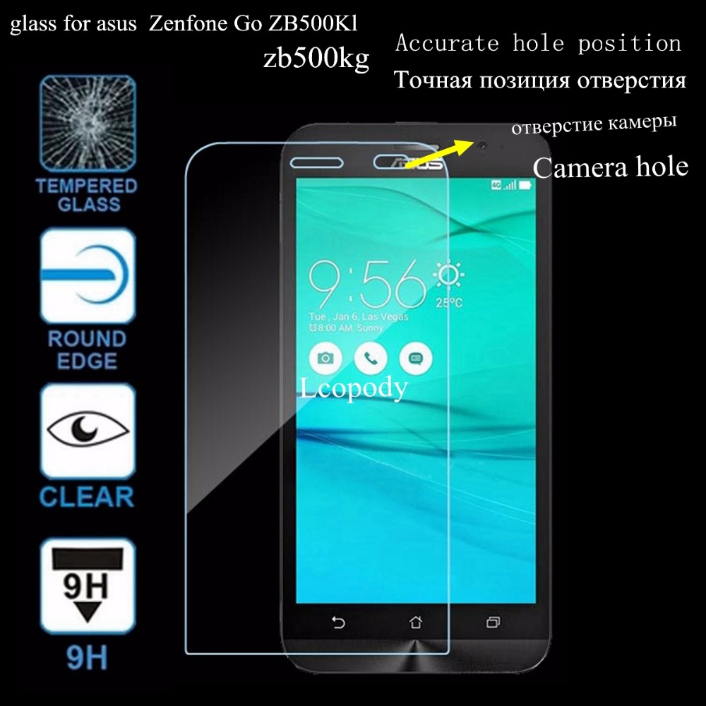 Lcopody 9H Screen protector tempered glass FOR asus zenfone GO ZB500KL ZB500KG ZB 500 KL KG 500KL 500KG ZB500 phone case cover image