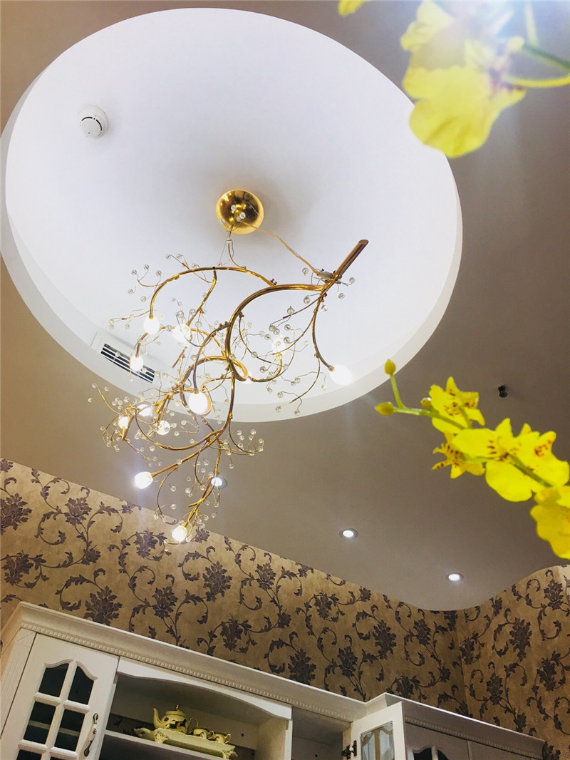 Modern Cherry Tree Branch Pendant Light Metal Crystal Led Lamp 12 16heads For Parlor Art Hotel Clothing Suspension G754 In Lights From