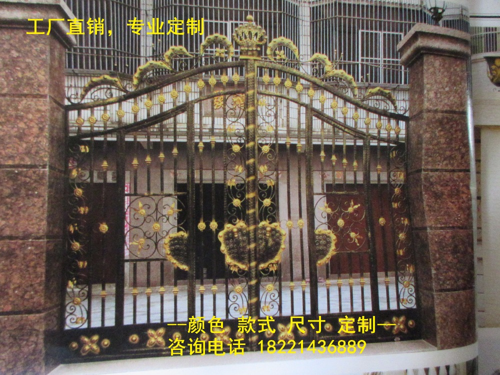 Custom Made Wrought Iron Gates Designs Whole Sale Wrought Iron Gates Metal Gates Steel Gates Hc-g48
