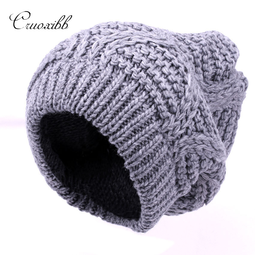 Cruoxibb New Winter Knitted Hats Skullies&beanies women Caps Solid colors  Fashion 100% Acrylic Double layer warm hat skullies