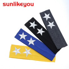 Sunlikeyou Newborn Photography Props Children Boys Girls Elastic Cotton Hair Bands Turban Cartoon Stars Embroidery Baby Headband