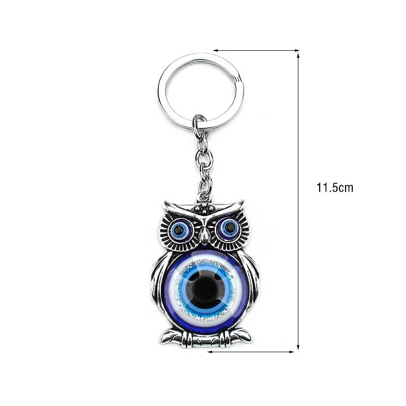 Biru Evil Eye Owl Beruntung Pesona Perlindungan Rumbai Gantungan - Perhiasan fashion - Foto 2